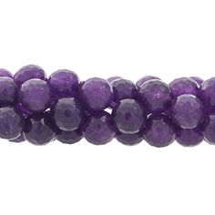 10mm Faceted Jade Gemstone Bead Strand, Amethyst