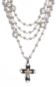 Virgins Saints & Angels 'Magdalena Cross' Necklace (Nordstrom Exclusive) #cross #necklace #black #gold #crystal #bling #fashion