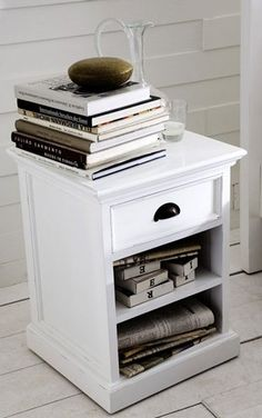 The epitome of 'shabby chic', our Rustic White bedside table Shelf Nightstand, White Nightstand, Nightstands, White Bedside Cabinets, Bedroom Furniture, Bedroom Decor, Furniture Decor, White Side Tables, Rustic White