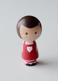 Wooden Valentine Kokeshi Peg Doll Girl. $15.00, via Etsy.