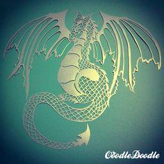 Papercut Dragon Original-fait à la main papercut par OoodleDoodle