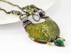 Enamel necklace  forest  green pendant with by Doorsignforyou, $65.00