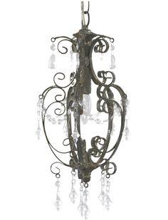 Taklampa krona antikgrå antikpatinerad prismor lantlig stil shabby chic