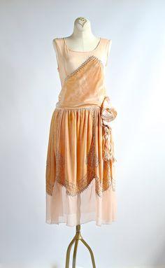Vintage 1920s Peach Velvet Flapper Dress With Rhinestone Studs ~ Vintage 20s Silk Velvet Beaded Dress