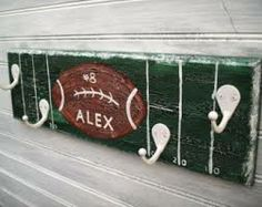 Football Team Player Rack Hanger Boys Sports Room Decor Wall 4 Hook Personalized Name Team Colors Sports Room Decor Handpainted MTO Custom Boys Football Bedroom, Football Rooms, Football Wall, Football Team, Custom Football, Football Room Decor, Sports Room Decor, Baby Boy Rooms, Kids Rooms