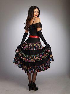 585a8f11ce6 Women Day Of The Dead Costume Senorita Sugar Skull Dress Halloween Cosplay  Gown  Costume