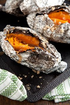 Cooking by the heat of coals makes this fall side so much fun. All that's needed are sweet potatoes, butter, brown sugar and aluminum foil. These coal roasted sweet potatoes are perfect for any occasion, weeknight meal or even camping. Side Dish Recipes, Side Dishes, Food Dishes, Grilling Recipes, Camping Recipes, Camping Meals, Grilled Sweet Potatoes, Gluten, Cereal Recipes