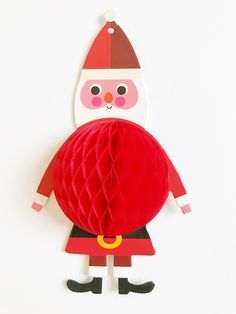 Santa himself as honeycomb ornament in paper - click here and see his 4 just as cute friends!