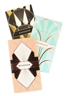Oh how I love this art deco notebook set