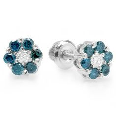 0.40 Carat (ctw) 10K White Gold White & Blue Round Cut Diamond Cluster Flower Stud Earrings DazzlingRock Collection. $149.00. Blue Diamonds Enhanced For Color. Weighs approximately 1.00 grams. Diamond Weight : 0.40 ct tw.. Crafted in 10K White-gold. Diamond Color / Clarity : I-J & Blue / I2-I3. Save 71% Off!