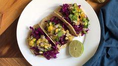 Black Bean Tacos with Mango Tomatillo Salsa — Not Like Mama Low Fat Vegan Recipes, Vegan Recipes Plant Based, Vegan Recipes Videos, Healthy Recipes, Vegan Meals, Purple Cabbage Recipes, Tomatillo Recipes, Bean Tacos, Vegetarian Tacos