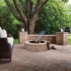 Oldcastle Countryside 48 in. Tan Fire Pit Kit - 70588237 - The Home Depot Small Backyard Design, Backyard Patio Designs, Pergola Designs, Backyard Landscaping, Backyard Seating, Backyard Ideas, Pergola Patio, Pergola Kits, Patio Ideas