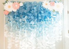 The Original Paper Circle Garland: Royal Blue Ombre Monday Blues, Circle Garland, Baby Shower, Backdrop Stand, Blue Ombre, Baby Crafts, Pink, Soft Colors, Paper Flowers