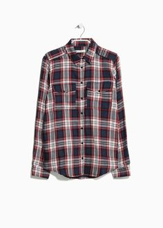 Mango Check Cotton-Twill Shirt in Blue (Carmine) | Lyst