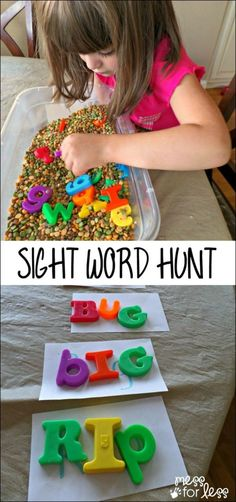 Do this with sight words! Word Games - this Sensory Word Hunt combines a sensory experience with learning! Teaching Sight Words, Sight Word Activities, Literacy Activities, Activities For Kids, Teaching Resources, Occupational Therapy Activities, Alphabet Activities, Kindergarten Centers, Kindergarten Literacy