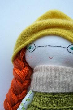 funky little lu doll 12 glasses orange hair green by humbletoys SOLD