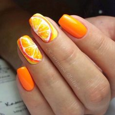 Beautiful orange nails, Citrus nails, Fruit nails, Medium nails, Nails for…