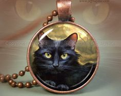 Black Cat Magic pendant, Halloween necklace resin pendant, cat jewelry, Halloween jewelry, Black Cat Jewelry Picture Pendant black orange