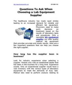 Questions To Ask When Choosing a Lab Equipment Supplier