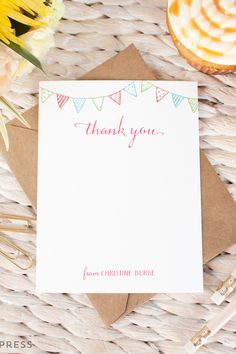 Bunting Thank You Personalized Notecard Set - Flat Cards by Curio Press. Custom gifts and personalized paper goods and stationery. Click through to learn more.