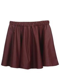 Falda de PU con cinta elástica-Rojo EUR15.49