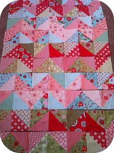 That girl... That quilt: Tutorials Half-Triangle Quilt