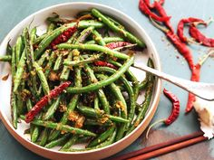 Gan bian si ji—Sichuan-style dry-fried green beans with chilies and pickles—are one of the best and most mistranslated vegetable dishes in the world. Wok Recipes, Asian Recipes, Vegetarian Recipes, Cooking Recipes, Chicken Recipes, Beans Recipes, Chinese Recipes, Delicious Recipes, Healthy Recipes