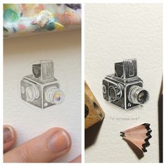 Before and After.  #365postcardsforants #wdc624 #miniature #watercolour #camera