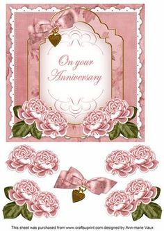 Pink Rose Anniversary Fancy 7in Decoupage Topper on Craftsuprint - Add To Basket!