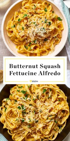 Gary and I loved it—Butternut Squash Fettuccine or Fettucini Alfredo. You'll need roasted butternut squash, garlic, heavy cream, chicken or vegetable broth (to keep it vegetarian), and parmesan cheese. Healthy Pasta Dishes, Healthy Pastas, Healthy Recipes, Healthy Dinners, Quick Vegetarian Recipes, Creamy Pasta Dishes, Vegetarian Times, Tasty Meals, Vegetarian Food