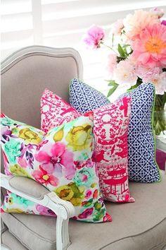 Super Genius Useful Ideas: Decorative Pillows Orange Sofas decorative pillows diy kids.White Decorative Pillows Rugs decorative pillows with words wedding gifts.Decorative Pillows With Words Cushions. Do It Yourself Design, Sweet Home, South Shore Decorating, Lounge Design, Design Room, Colorful Pillows, Bright Pillows, Floral Cushions, Pink Pillows