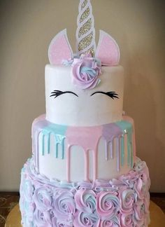 More in my website unicorn cake unicorn cake Girls birthday party. Unicorn Themed Birthday Party, Birthday Cake Girls, Unicorn Birthday Cakes, Unicorn Themed Cake, Shopkins Birthday Cake, Birthday Ideas, Children's Birthday Cakes, Unicorn Party Decor, Girls 1st Birthday Cake