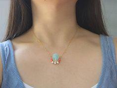Amazonite & coral pendant necklace