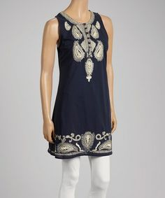 Loving this Navy Blue & White Paisley Sleeveless Dress on #zulily! #zulilyfinds love this!!!!!!!!!!