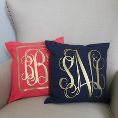 One of life's necessities is a gold monogrammed pillow!