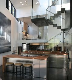 Modern house with high glass staircase