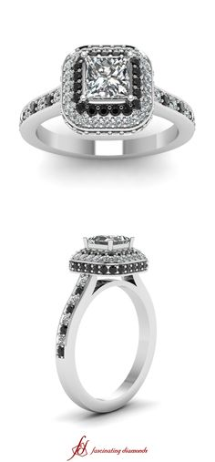 Crowning Glory Ring ||  Princess Cut Diamond Halo Ring With Black Diamond In 14k White Gold