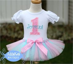 Personalized Light Pink and Aqua Polka Dot Birthday Tutu Outfit by AddieKatShop on Etsy https://www.etsy.com/listing/130641052/personalized-light-pink-and-aqua-polka