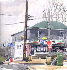 What makes a corner view so much more interesting than painting a facade? I've been thinking about that today because I always seem to seek out corners to sketch. I'm not always lucky e… Watercolour Tutorials, Watercolor Techniques, Painting Techniques, Watercolor Landscape, Watercolor Paintings, Watercolours, Street Pictures, Urban Sketchers, Urban Life