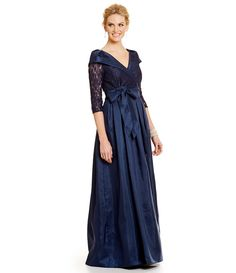Navy:Jessica Howard Portrait-Collar Taffeta Ballgown