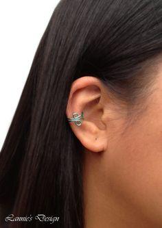 Sea Green Ear Cuff, Cuff Earrings, Sea Green Brass Earcuff, Simple Ear Cuff, Free Shipping anywhere in the USA #earcuff #cuffearrings #cuffearring #earcuffs #earrings #jewelry