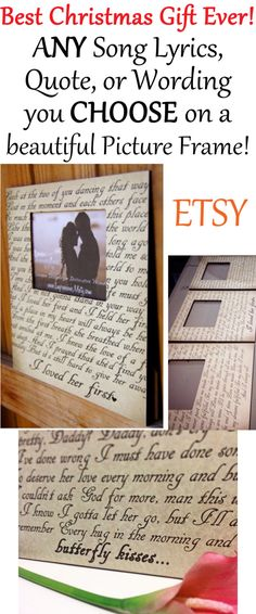 ANY Song Lyrics, Quote, or Wording you CHOOSE --YES ANY! on a beautiful Picture Frame!! by Impressions By Misty on Etsy -$75 - Click for more info!