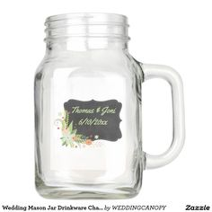 Wedding Mason Jar Drinkware Chalkboard Floral