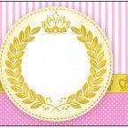 Lindo kit com vários convites, moldes e caixinhas com o tema Coroa de Princesa!