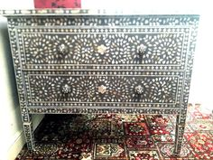 Surrealz Mother of Pearl Inlaid Sideboard Chest of Drawers in Grey with floral, scroll pattern.  Also available in Bone inlay options and other colours.
