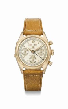 Rolex. An exceptionally fine and rare 18K pink gold triple calendar chronograph wristwatch with two-tone silvered dial and red calendar indication, made for the Italian market, manufactured in 1955 #ChristiesWatches