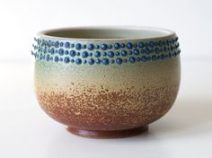 Spotted Turquoise Bowl, Stoneware.