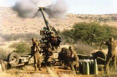 -SADF cannon - not one was ever found during their entire deployment - good shells with low signature smoke, dropping noses when Migs were around and all around discipline Army Day, Defence Force, Tactical Survival, African History, War Machine, Vietnam War, Military History, Armed Forces, South Africa