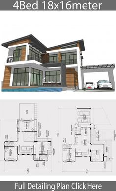 Home design plan with 4 bedrooms. Two-story house Modern Contemporary style Lay out the building layout So that every room can ventilate well. Modern Floor Plans, Modern House Plans, Big Modern Houses, Building Layout, Sims Building, Glass House Design, Rest House, House 2, Home Structure