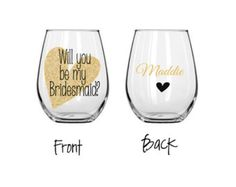 Bridesmaid wine glasses will you be my by ShopAroundTheCorner3